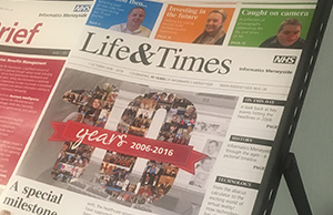 Photograph of a commemorative newsletter produced in celebration of the ten-year anniversary of NHS Informatics Merseyside